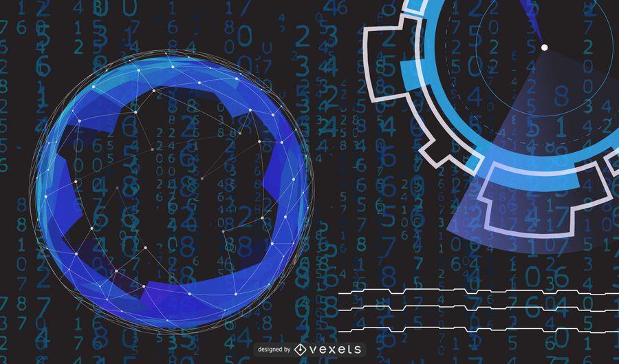 Fundo de alta tecnologia azul círculos