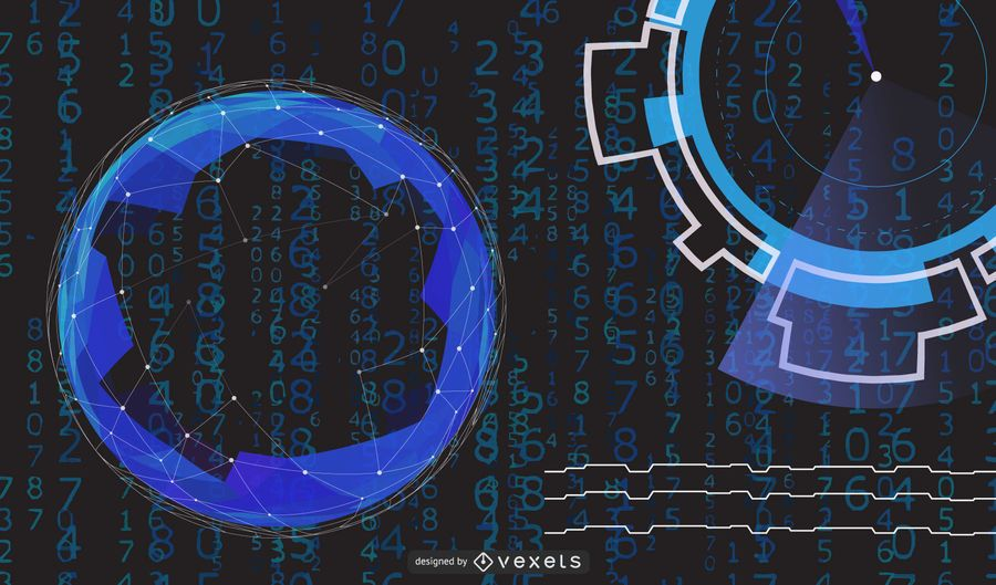 Hightech-Blau kreist Hintergrund ein