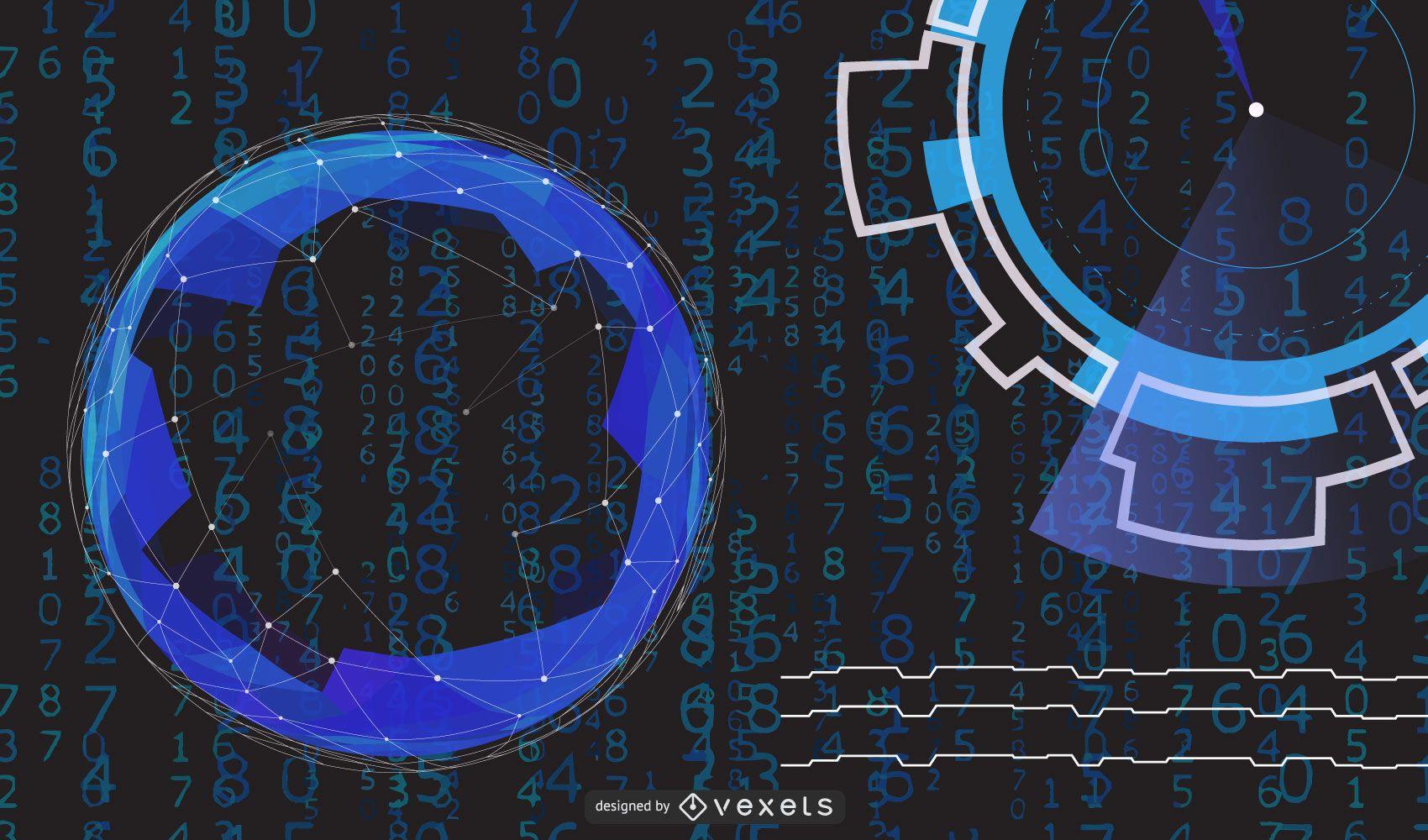 Fondo de círculos azules de alta tecnología
