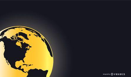 Fundo de negócios de ouro preto com globo