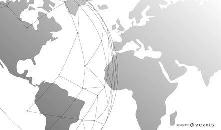 Fundo de negócios modelo com globo e linhas