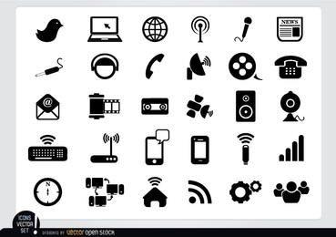 Paquete de iconos multimedia plana