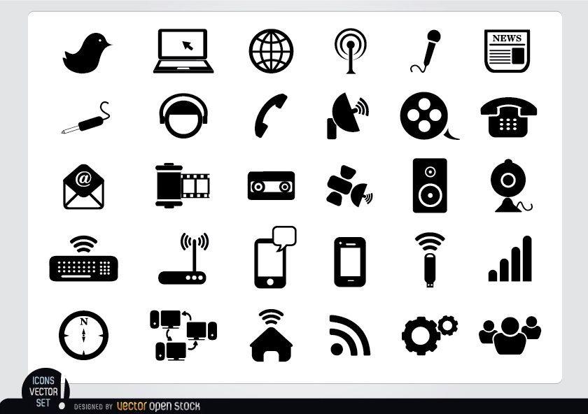 Pacote de ícones planos multimídia