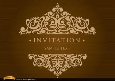 Cartão de convite com texto decorado