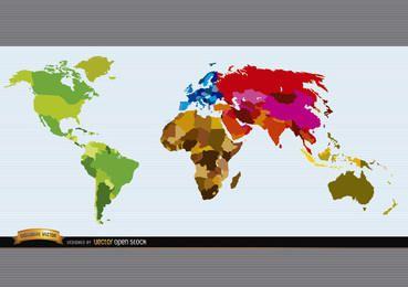 Mapa político do mundo colorido