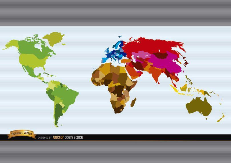 Mapa del mundo político de color