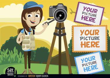 Fotógrafo con cámara y marcos.