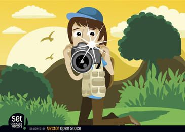 Fotógrafo instantâneo na paisagem