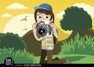 Instantánea del fotógrafo en el paisaje