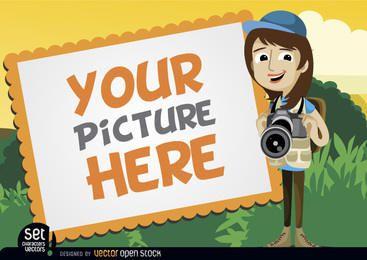 Marco de fotos con la chica de la cámara.