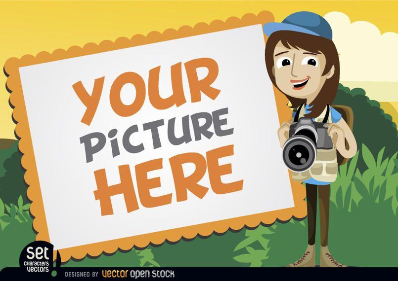 Moldura com garota de câmera