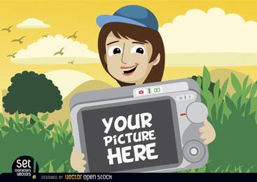 Karikaturmädchen, das in camera Foto zeigt