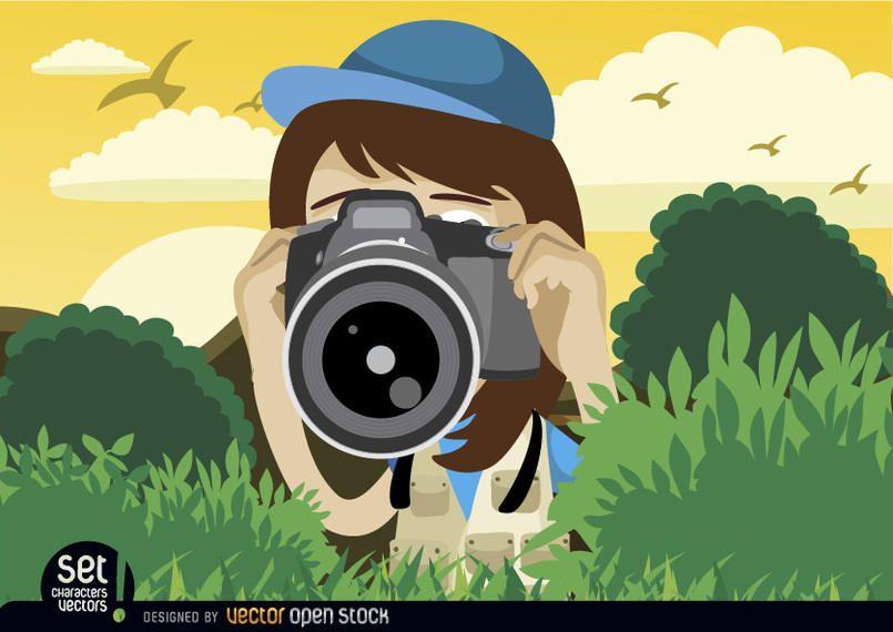 Menina, tiro, com, câmera
