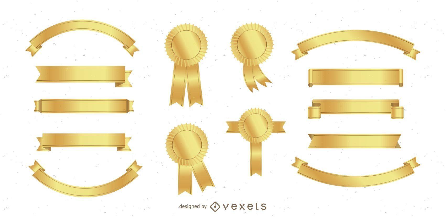 Bandeira de ouro e pacote de fita de prêmio