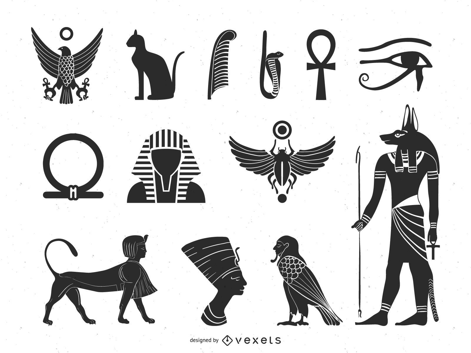 Paquete de elementos de la cultura antigua egipcia