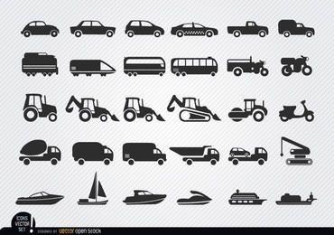 Conjunto de iconos de siluetas de vehículos y barcos
