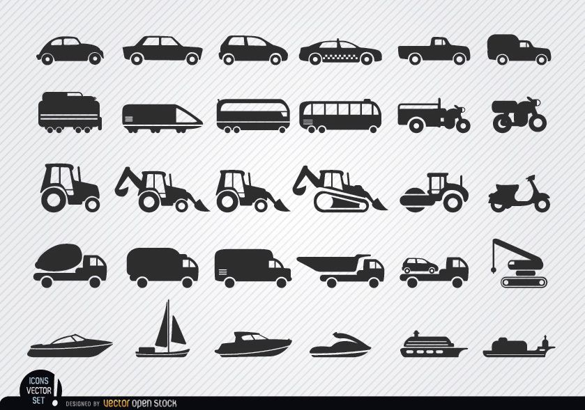 Vehicles and ships silhouettes icon set