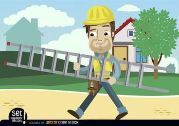 Dibujos animados de trabajador de contrucción llevando escalera