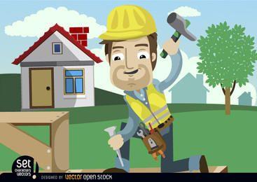Bauarbeiter, der Meißel hämmert