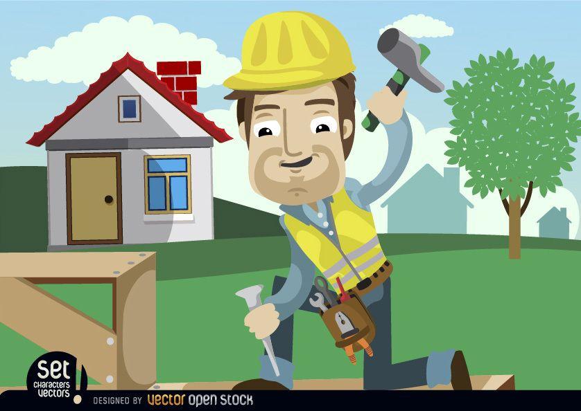 Worker hammering chisel