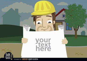 Empregado da construção que olha o texto dos planos