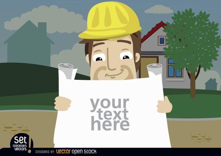 Funcionário da construção procurando textos de planos
