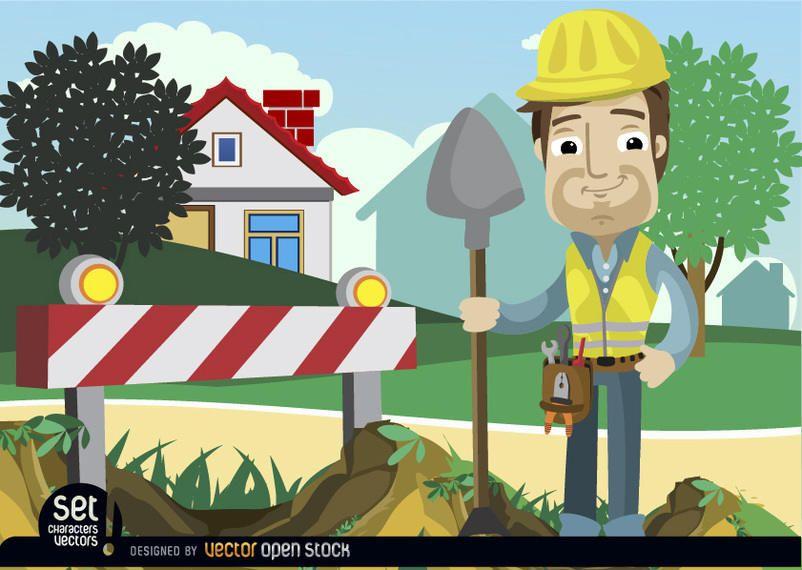 Sob o homem de barricada de construção com pá