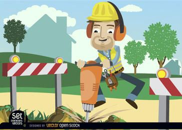 Arbeiter bohren Boden mit Barrikaden
