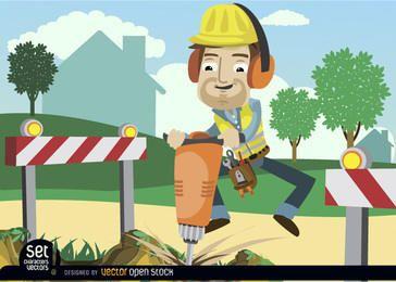 Obrero de perforación con barricadas.