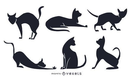 Black & White Silhouette Cat Set