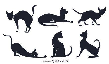 Conjunto de gato preto e branco silhueta