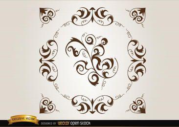 Bucles y remolinos circulares de decoración.