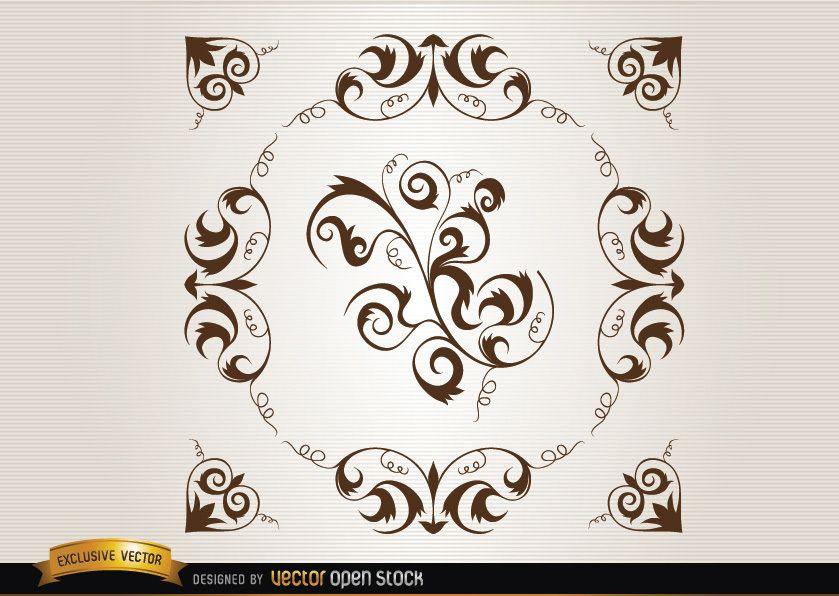 Decoración de círculos de bucles y remolinos