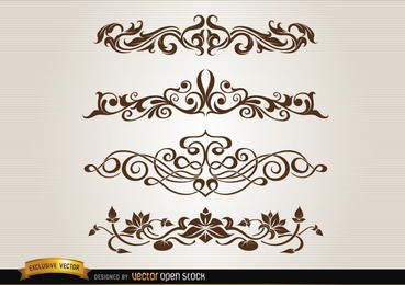 Leaves floral and swirls decoration set