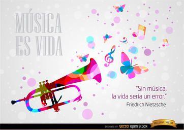 Música e vida frase Nietzsche fondo