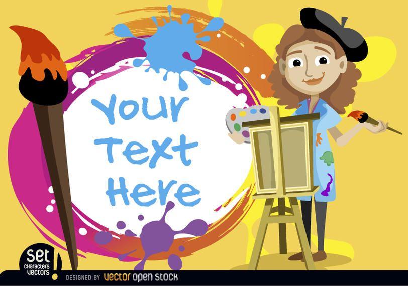 Artista niña con texto pintado.