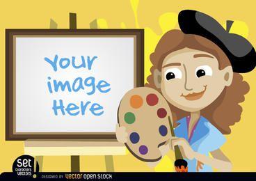 Pintor niña con imagen de caballete.