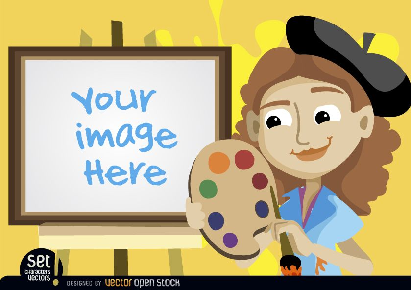 Painter girl with easel image