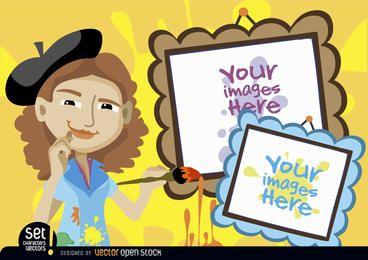 Mujer joven artista con marcos de cuadros