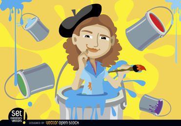Pintor mujer dentro pintura cubo