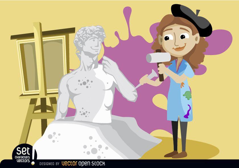 Artist woman sculpting statue
