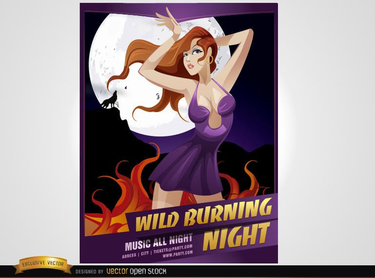 Night Party Girl Poster