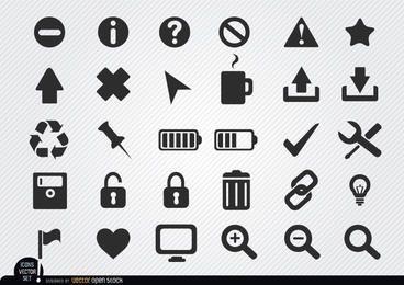 Conjunto de iconos de web plana