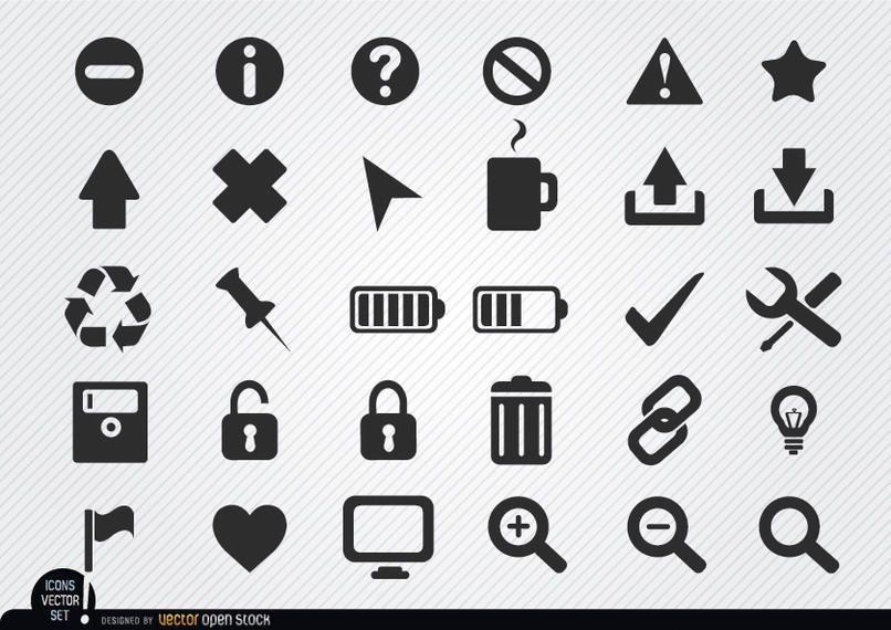 Conjunto de iconos web plana
