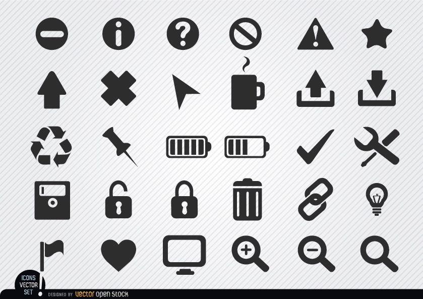Conjunto de ícones da web plana