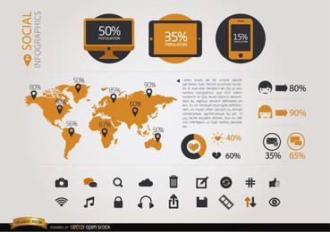 Soziale Infografiken Elemente