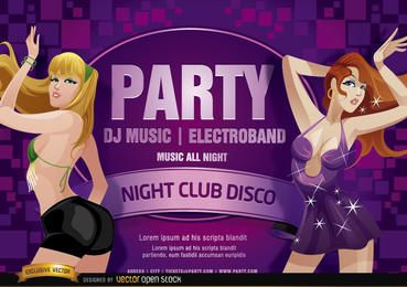Nightclub disco party girls design