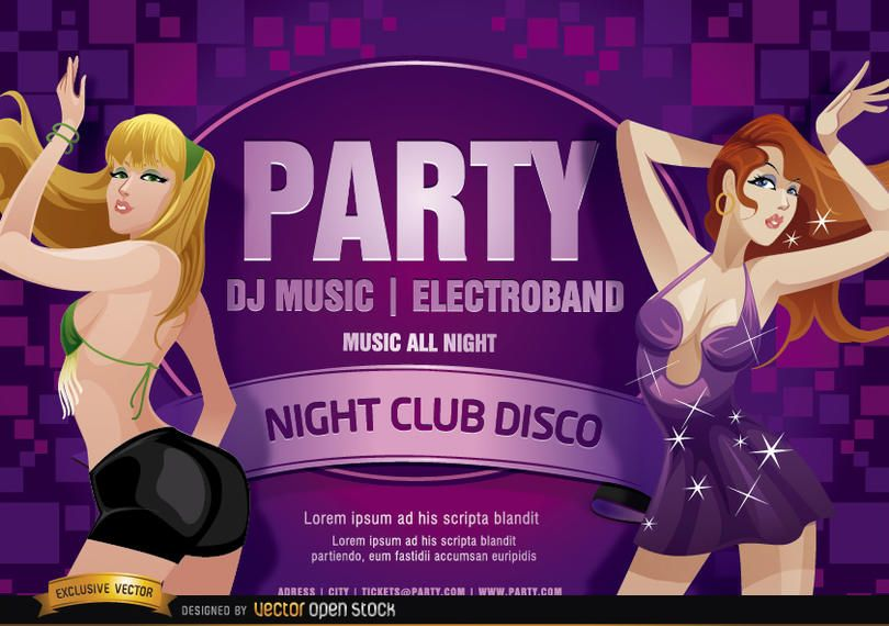 Nightclub disco party girls flyer