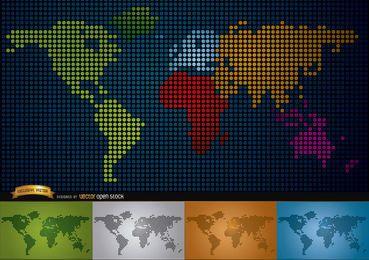 Mapa digital del mundo con los continentes