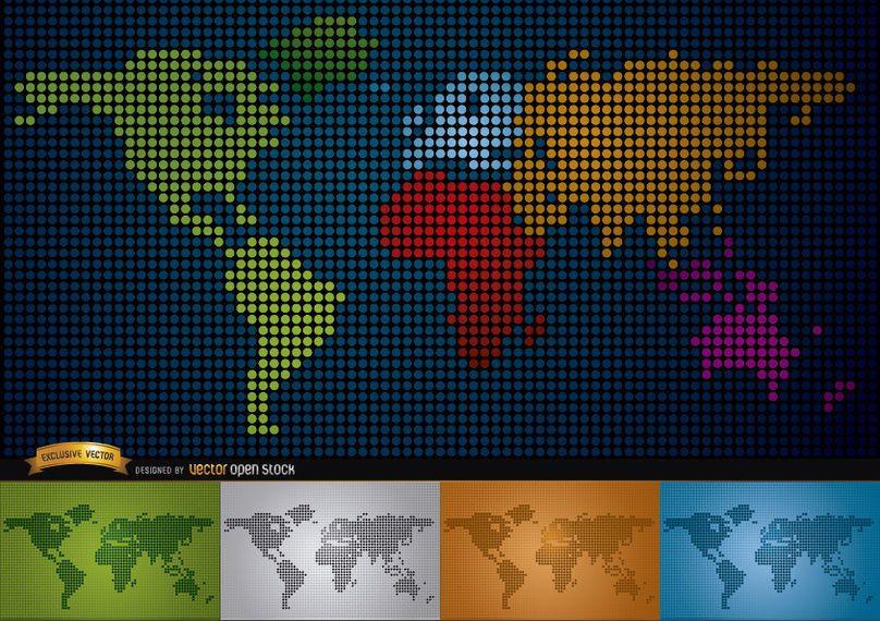 Mapa digital del mundo con continentes.